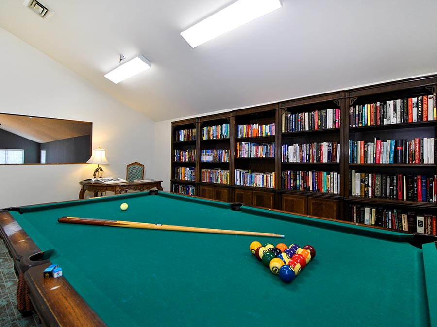 Westhaven Manor game gallery with pool table and library