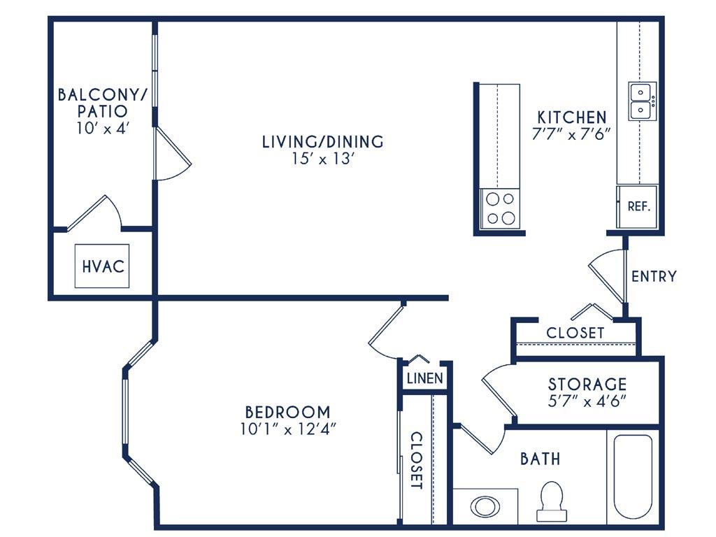 Westhaven Manor Hunter Floor Plan - 1 Bedroom 1 Bath